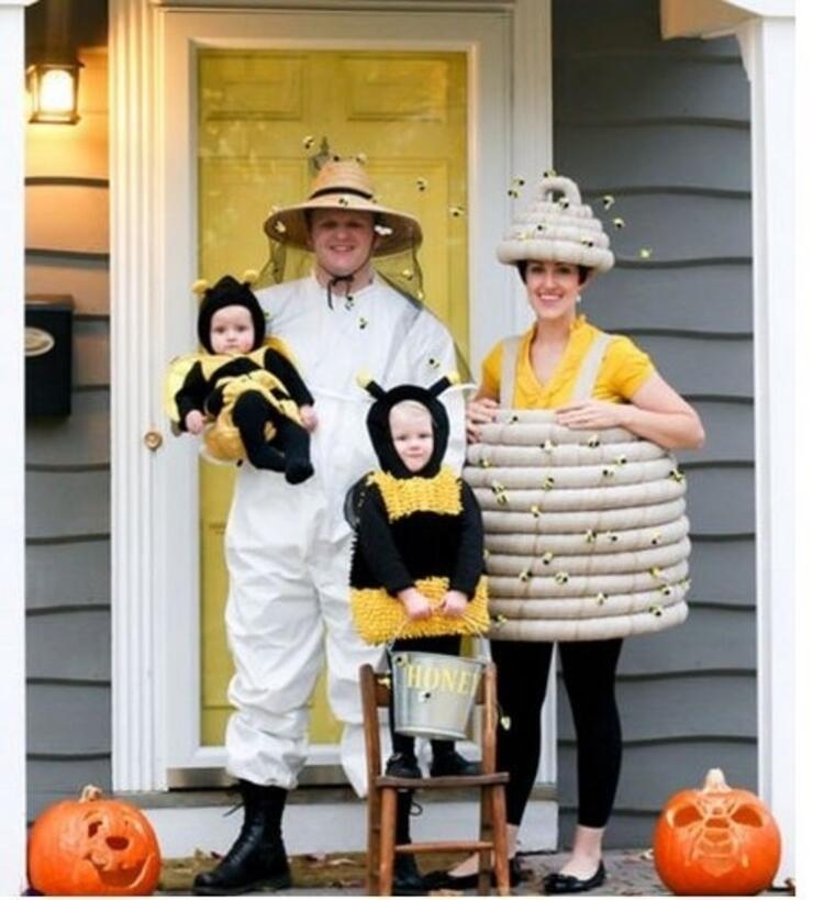 Arı ve arıcı aile kostümü
