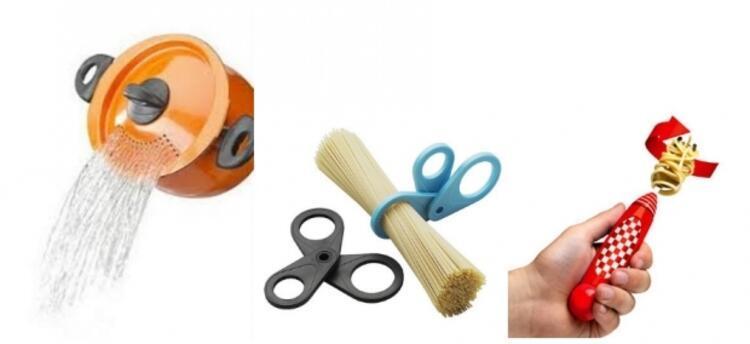 Süzgeçli makarna tenceresi, makarna makası ve kendiliğinden dönen spagetti çatalı