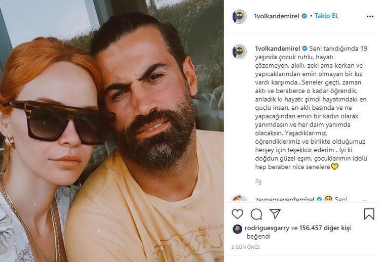 Volkan Demirel, Instagram'da eşi için şunları yazmıştı: