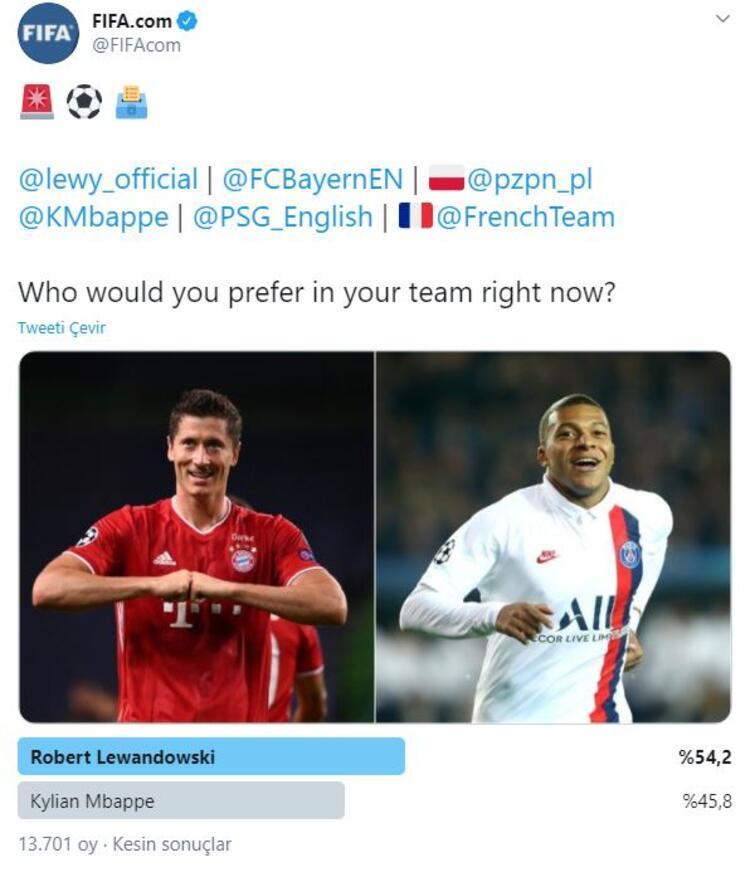 FIFAnın daha önce yaptığı çeşitli anketlerdeki oy sayıları ise şu şekilde