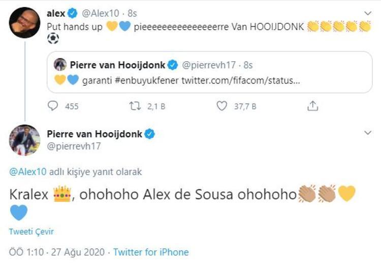 Alex de Souzanın paylaşımı ve Hooijdonkun Alexe cevabı
