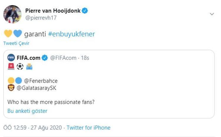 Fenerbahçenin eski yıldızı Pierre van Hooijdonkun paylaşımı