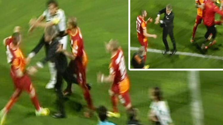 Bursa'da saha karıştı, Mancini araya girdi