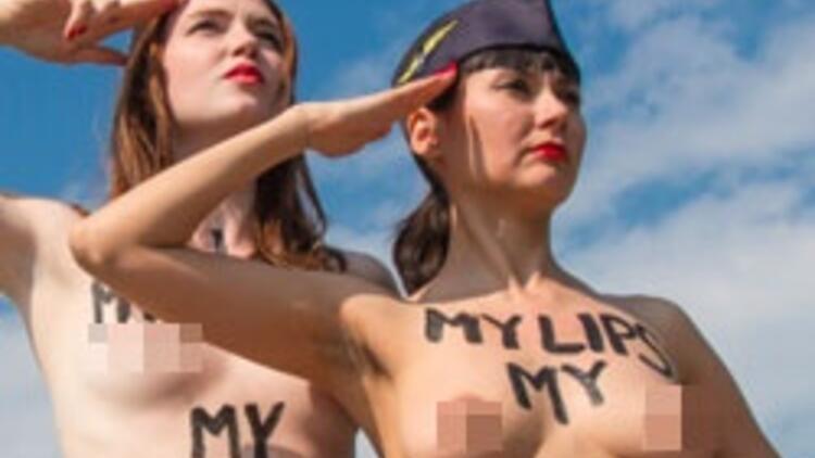 FEMEN'den THY hosteslere dev destek