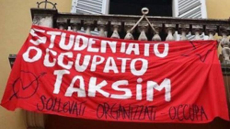 """Bologna'daki eski okul binasını işgal edip """"Taksim"""" adını verdiler"""