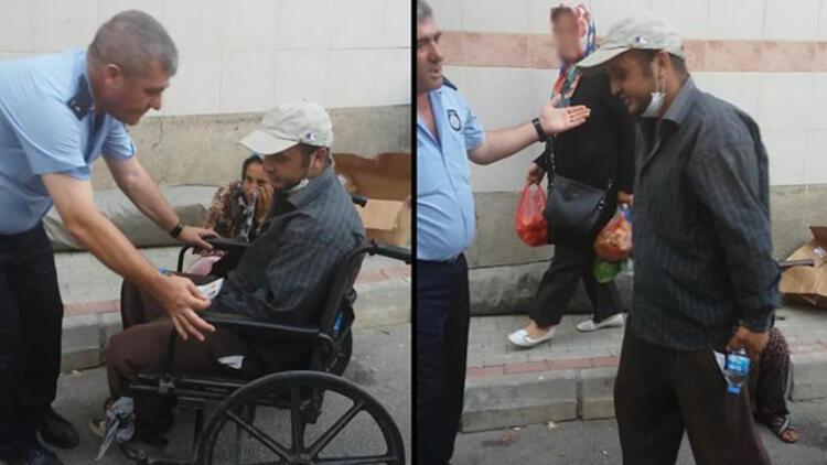 Zabıtayı gören tekerlekli sandalyedeki dilenci ayağa kalktı
