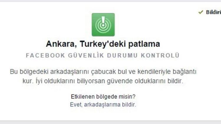 Facebook Ankara'daki kullanıcılarına bu mesajı geçti