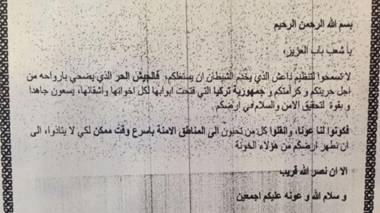 İşte Türk savaş uçaklarından El Bab'a atılan bildiri