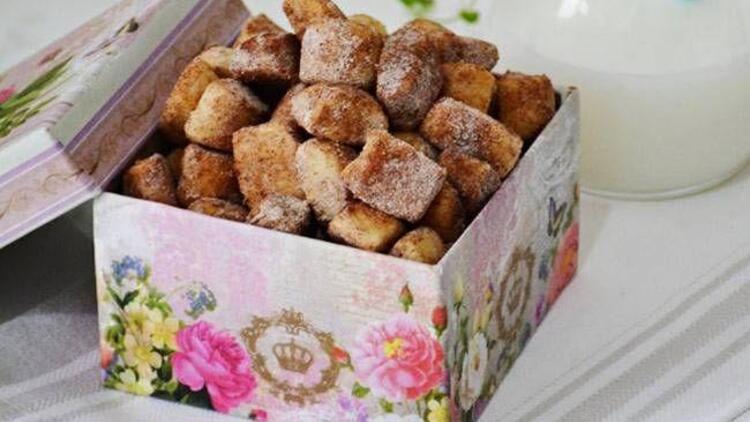 Tarçınlı fındıklı tek lokmalık kurabiye