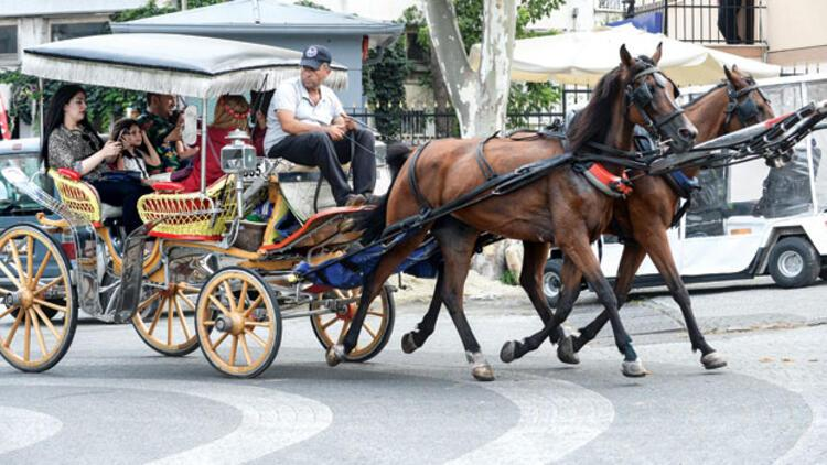 Turiste fayton taşımaya elektrikli araç