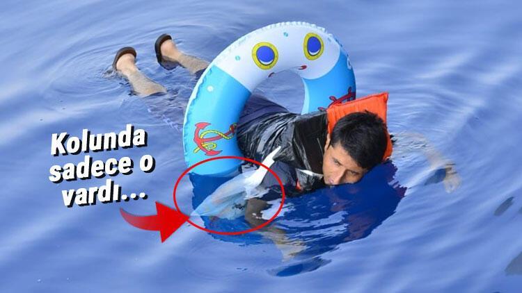 Denizde bu halde yakalandı! 1 ekmek ve çocuk can simidi…