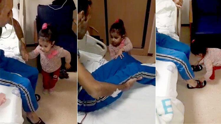 Yüz nakilli Recep Sert'in hastanedeki yardımcısı minik kızı Hira