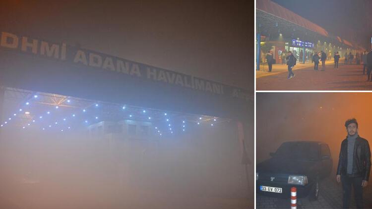 Adana'da görüş mesafesi 10 metreye kadar düştü! Uçak seferleri iptal