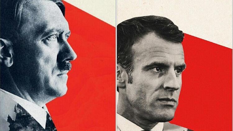 Adolf Hitler'i andıran Macron kapağı tartışma yarattı