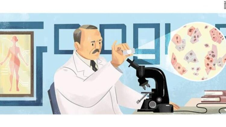 Google'dan Pap smear testini bulan Georgios Papanikolaou doodle'ı