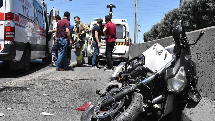 Basın Ekspres yolunda kaza yapan motosiklet sürücüsü yaralandı