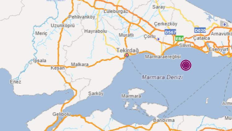 Silivri açıklarında 3.2'lik deprem