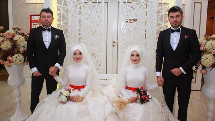 Bu düğünde gelinler de damatlar da ikiz