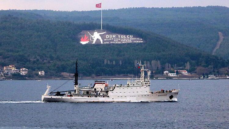 Rus araştırma ve istihbarat gemisi, Çanakkale Boğazı'ndan geçti