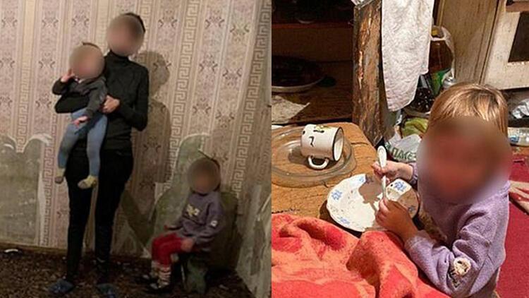 Duvar kağıdı yemek zorunda kalan çocukları polis kurtardı