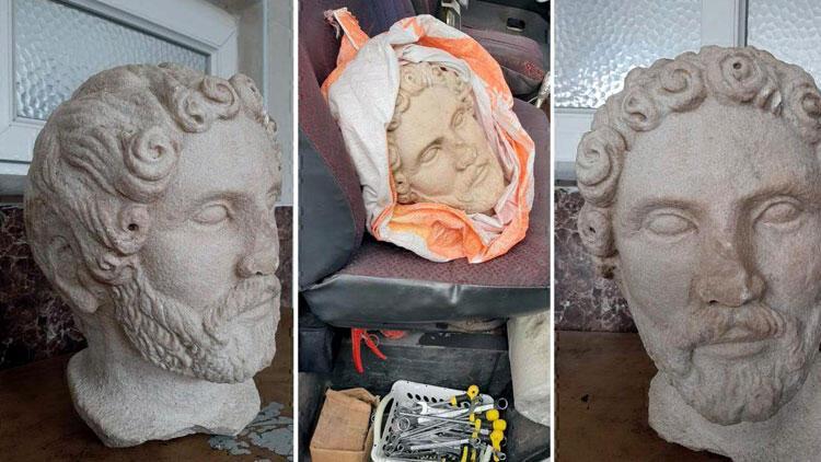 Tekirdağ'da tarihi heykel başı ele geçirildi
