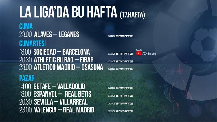 La Liga'nın 17. haftasında 8 maç canlı yayınla D-Smart'ta
