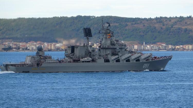 Rus 'Mareşal Ustinov' füze kruvazörü Çanakkale Boğazı'ndan geçti
