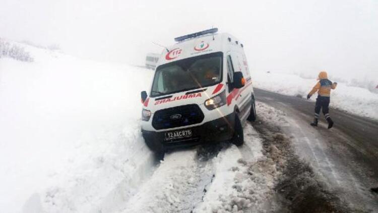 Bingöl'de hasta almaya giden ambulans kara saplandı