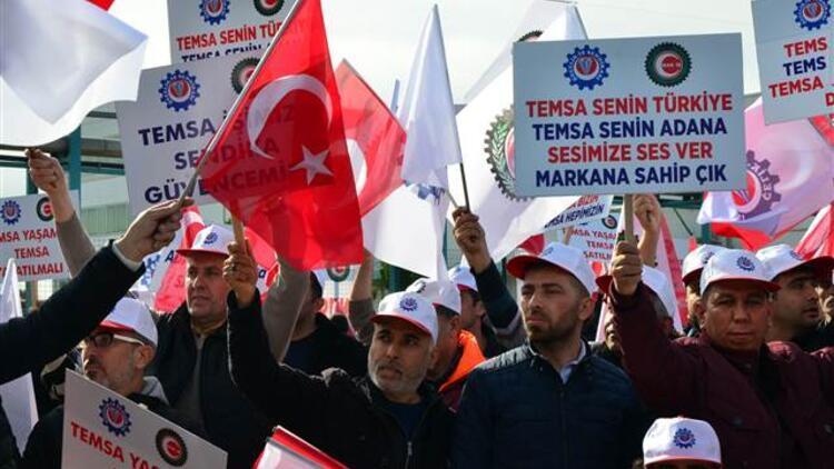 Temsa işçileri üretimin başlaması için eylem yaptı