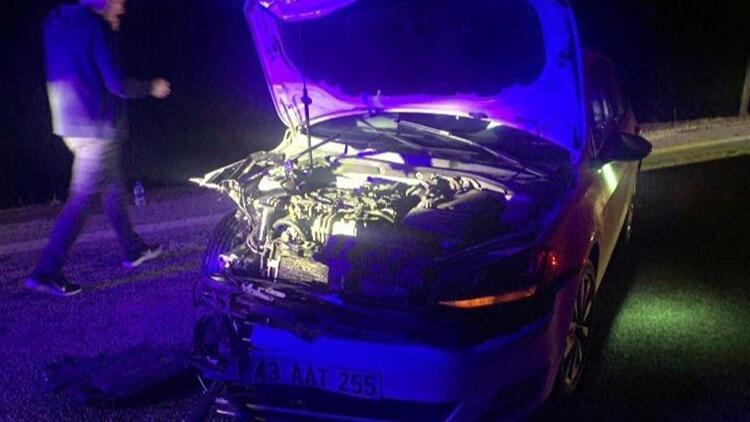 Kütahya'da otomobil domuza çarptı: 2 yaralı