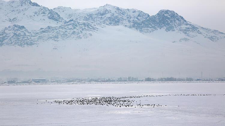 Sıhke Gölü'nün yüzeyi buzla kaplandı