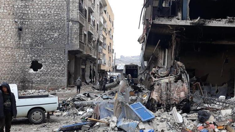 Suriye'de bombalanan Eriha ilçesi gündüz görüntülendi