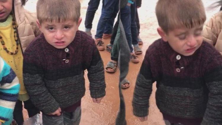 İdlib'te üşürken çekilen görüntüleri yürek burkan çocuğa yardım eli