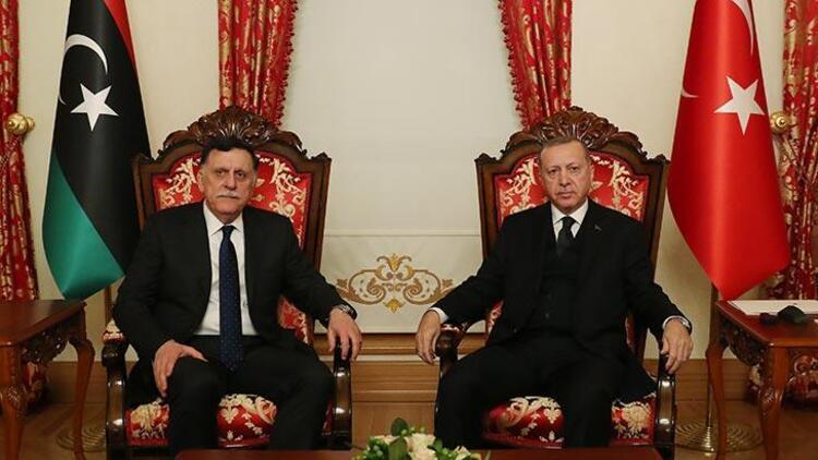 Cumhurbaşkanı Erdoğan, Libya UMH Başkanlık Konseyi Başkanı Sarraj ...