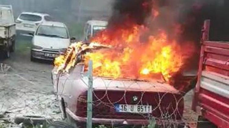 Tamirciye getirilen otomobil alev alev yandı