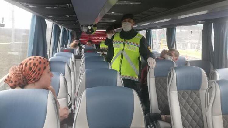 Jandarmadan yolcu otobüslerine sosyal mesafe denetimi