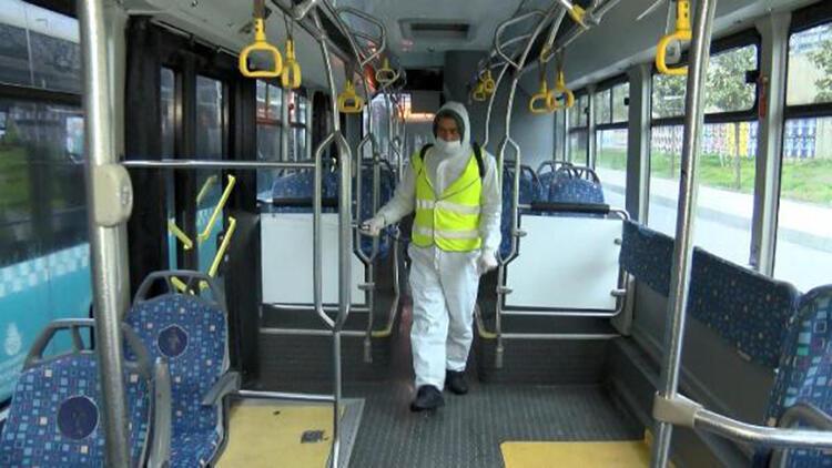 Mecidiyeköy'de özel halk otobüsleri dezenfekte edildi