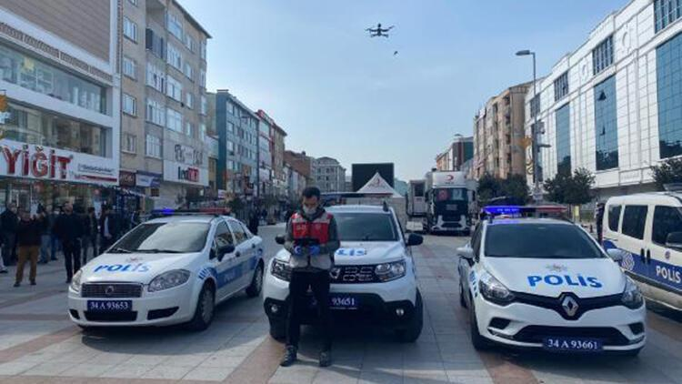 Polisten drone ile 'Evde kal' uyarısı
