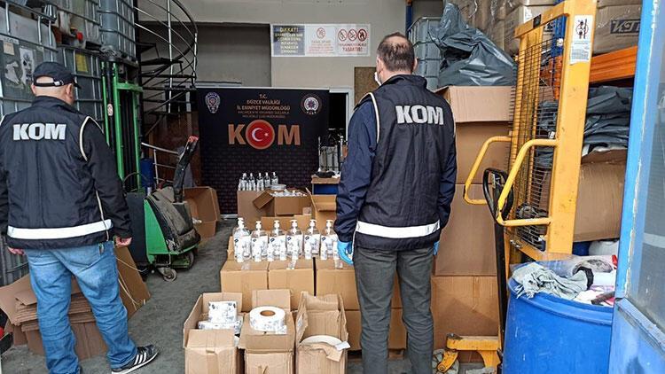 Düzce'de yasa dışı dezenfektan üreten şüpheli yakalandı