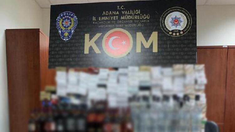 Adana'da Mısır Çarşısı'ndaki dükkanda kaçak içki ve sigaralar bulundu
