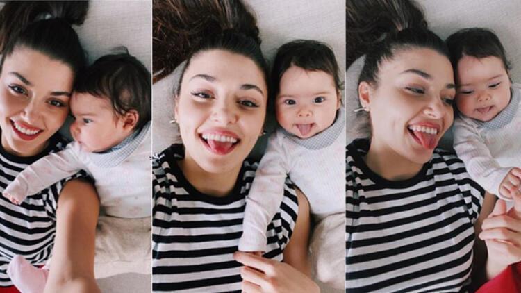 Hande Erçel: Mavi dil çıkarmayı öğrendi