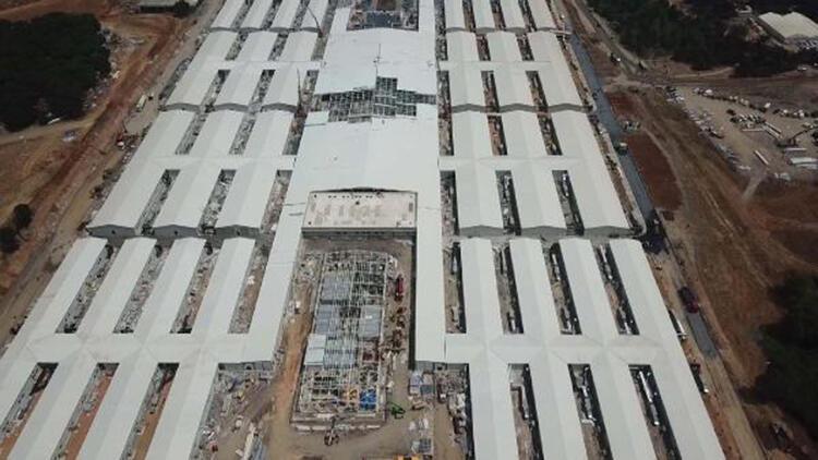 Sancaktepe'deki hastane inşaatında son durum havadan fotoğraflandı