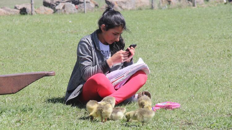 Derslerini kaz ve kuş sesleri arasında EBA'dan takip ediyor