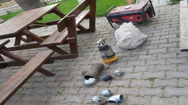 Su deposundan malzeme çalan 2 kişi yakalandı