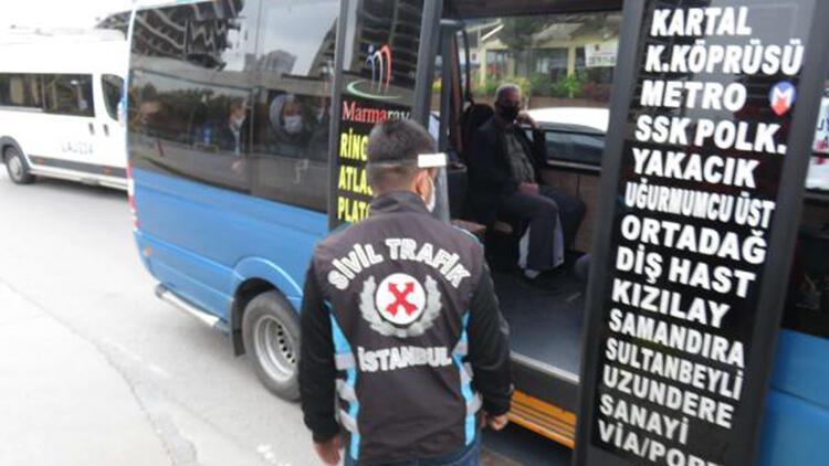 Kartal'da fazla yolcu taşıyan minibüsler cezadan kaçamadı