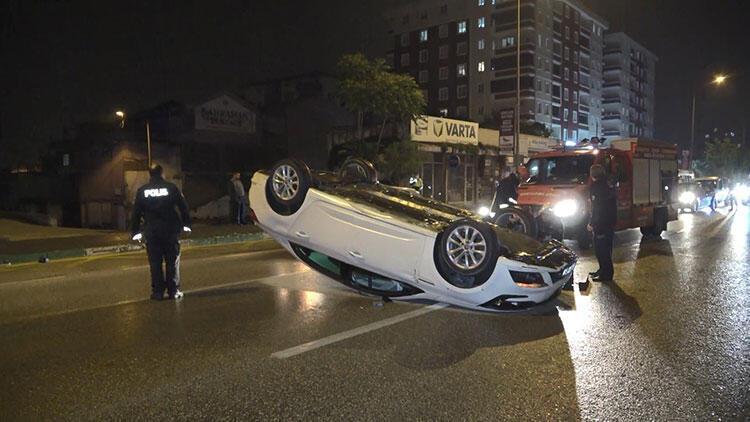 Otomobil kaygan yolda takla attı, metrelerce savruldu