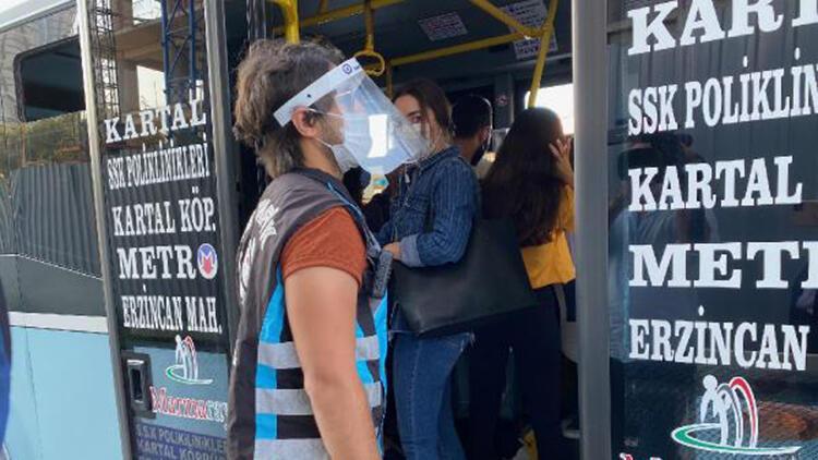 Kartal'da minibüslerde maske denetimi