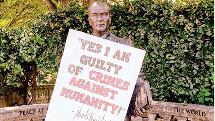 Washington'daki Atatürk heykeline çirkin saldırı