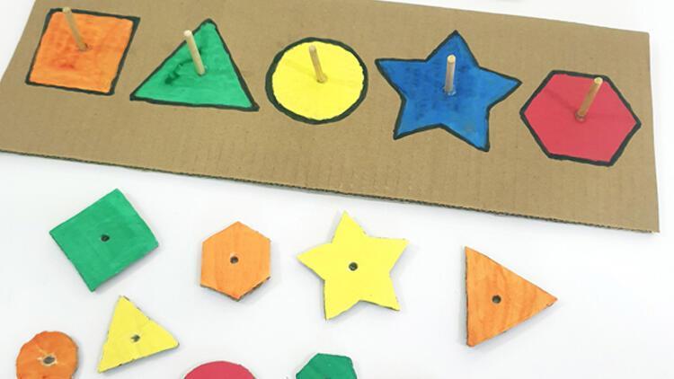 Evde eğitici oyuncak yapımı: Şekilleri bul-tak