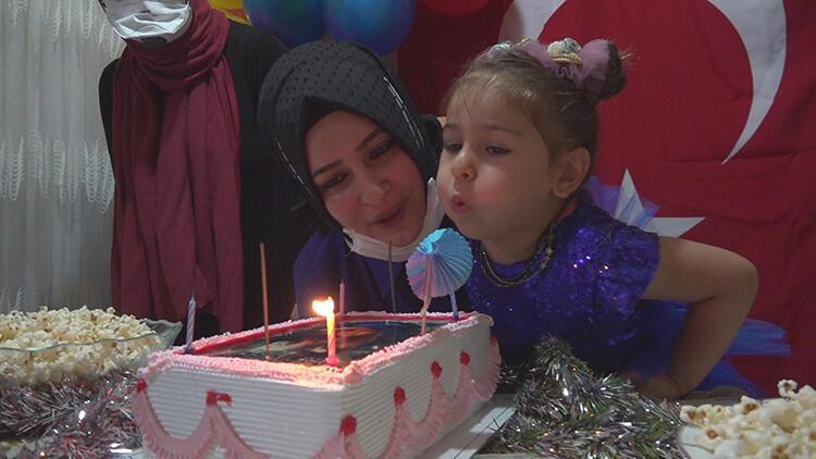 Şehit kızına doğum günü sürprizi